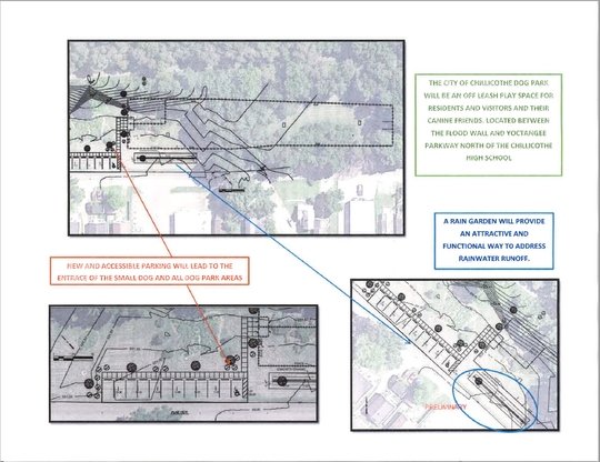 A prospective map shows the future design for the Chillicothe Dog Park