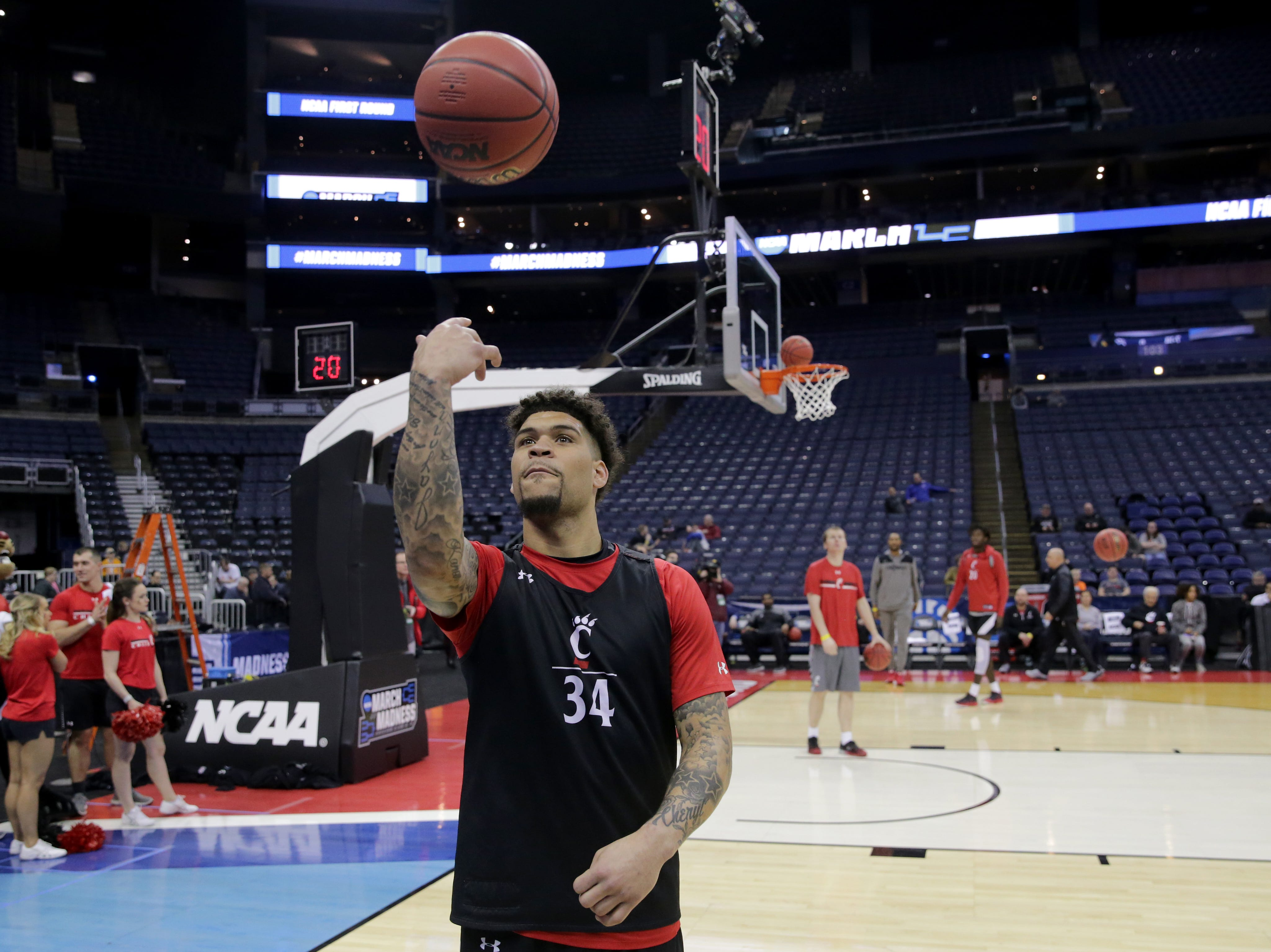 Cincinnati Bearcats guard Jarron Cumberland (34) attempts a shot during open practice, Thursday, March 21, 2019, at Nationwide Arena in Columbus, Ohio.