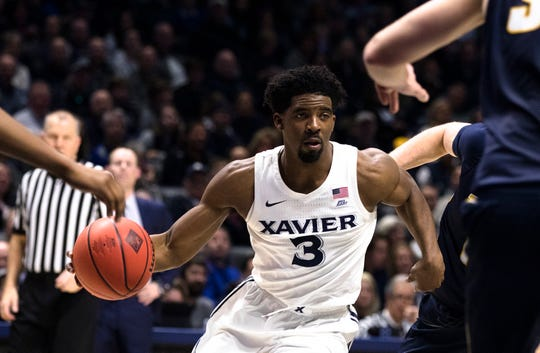 Xavier Musketeers guard Quentin Goodin (3) drives during the second half of the NCAA men's basketball game in the first round of the NIT tournament on Wednesday, March 20, 2019, at the Cintas Center in Cincinnati. Xavier defeated Toledo 78-64.