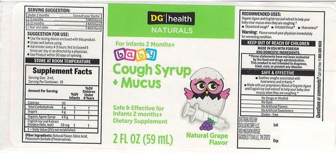 A brand of baby cough syrup sold at Dollar General stores nationwide has been recalled due to potential contamination that causesvomiting anddiarrhea.