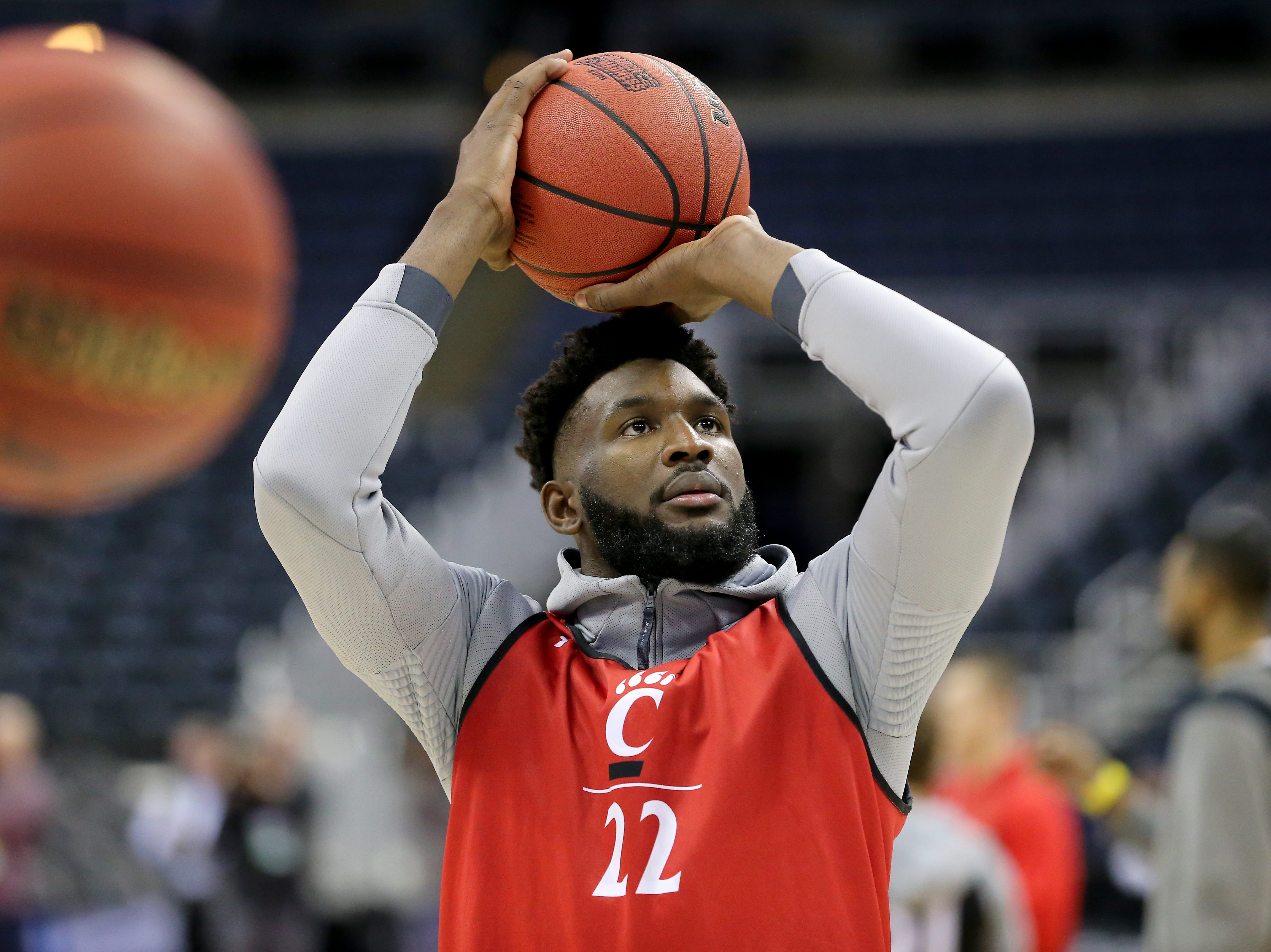 Cincinnati Bearcats forward Eliel Nsoseme (22) takes a shot during open practice, Thursday, March 21, 2019, at Nationwide Arena in Columbus, Ohio.