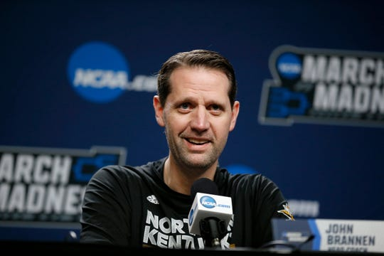 Northern Kentucky Norse head coach John Brannen smiles as he talks about the team's success during a press conference before a practice session at the BOK Center in downtown Tulsa on Thursday, March 21, 2019. NKU takes on Texas Tech Friday in the NCAA Tournament First Round. The Norse makes its second tournament appearance in three years since becoming a Division 1 team.