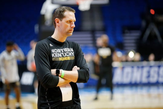 Northern Kentucky Norse head coach John Brannen watches during an off-day practice session at the BOK Center in downtown Tulsa on Thursday, March 21, 2019. NKU takes on Texas Tech Friday in the NCAA Tournament First Round. The Norse makes its second tournament appearance in three years since becoming a Division 1 team.