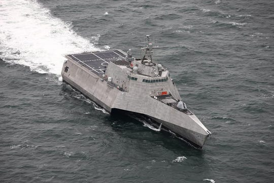 The USS Cincinnati is an LCS class ship built by General Dynamics and Austal USA in Mobile, Alabama shipyards. The new ship is pictured in the Gulf of Mexico this spring completing manufacturer trials. The ship is capable of multiple missions from mine sweeping to submarine deterrence as part of a formation of ships.