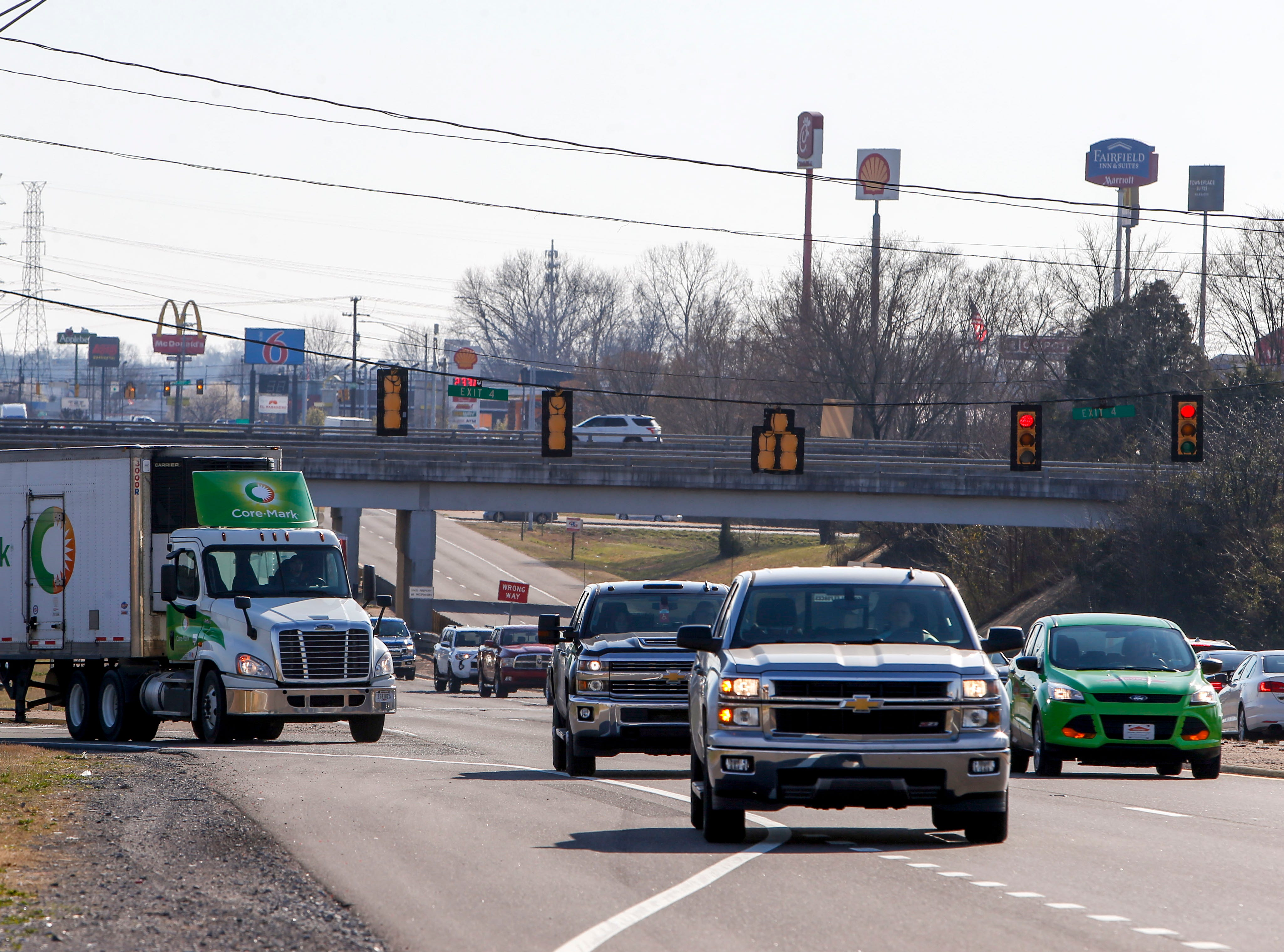 Traffic lines up down Wilma Rudolph Blvd at Wilma Rudolph Blvd at the I-24 overpass in Clarksville, Tenn., on Tuesday, March 19, 2019.