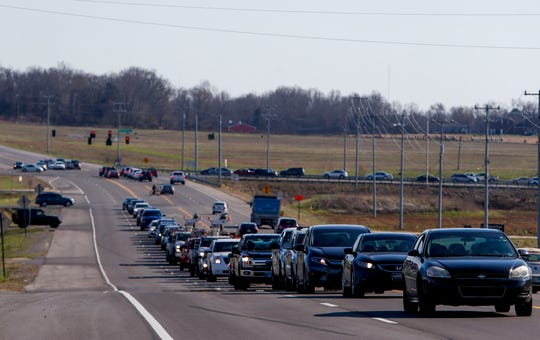 Traffic lines up down Trenton Road near Needmore Road in Clarksville, Tenn., on Tuesday, March 19, 2019. The widening of Trenton Road from north of state Highway 374 (101st Airborne Division Parkway) to south of I-24 is on the state's IMPROVE Act list of accelerated road projects.