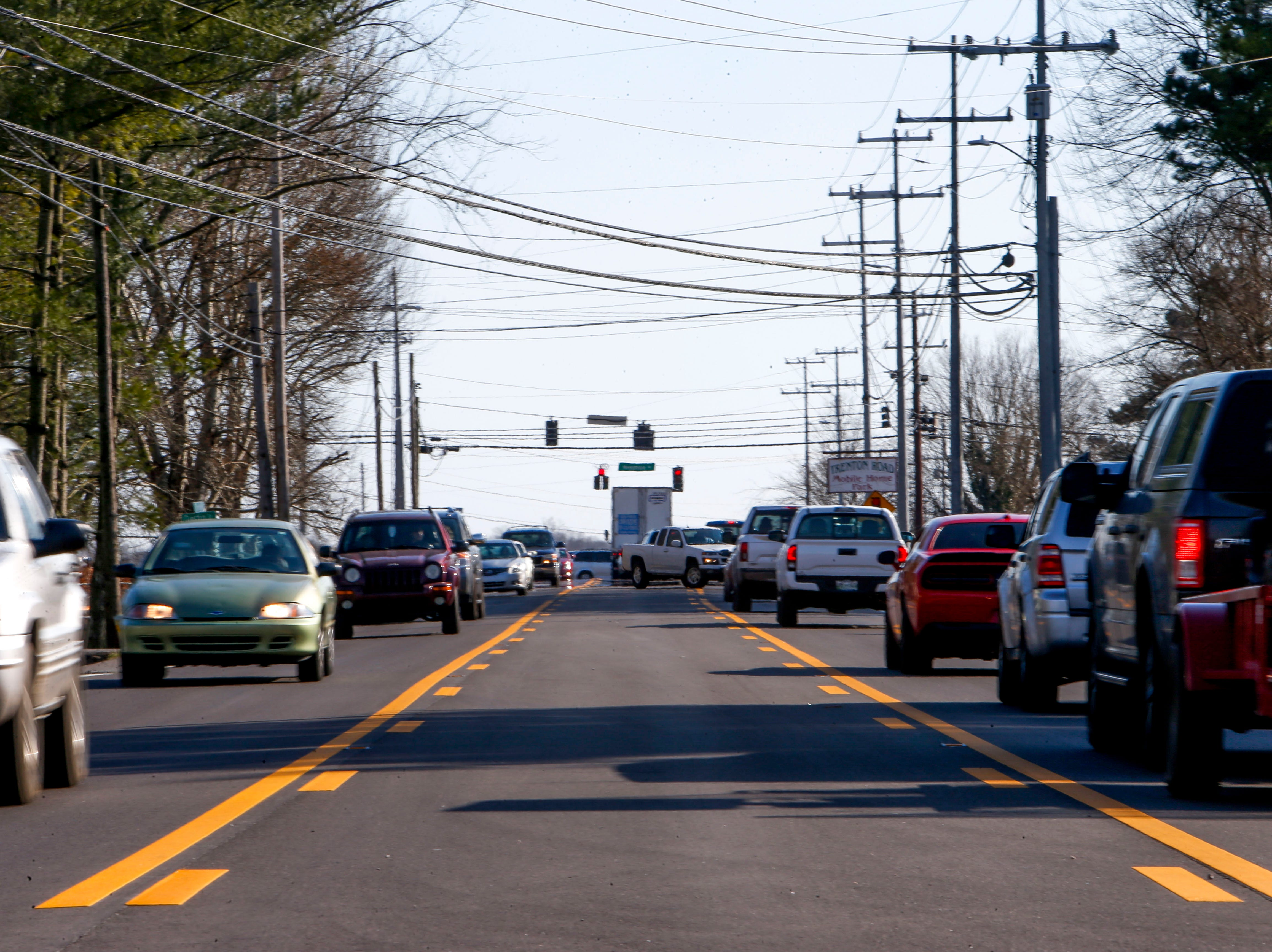 Traffic lines up down Trenton Road at Trenton Rd and Needmore Rd in Clarksville, Tenn., on Tuesday, March 19, 2019.