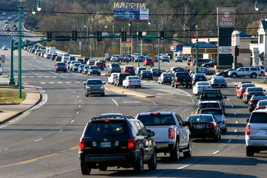 Traffic backs up near the intersection of U.S. 41 and North Second Street in Clarksville on Tuesday, March 19, 2019.