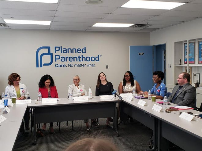 On Wednesday, March 20, Planned Parenthood Action Fund of New Jersey hosted a roundtable discussion, with U.S. Rep. Bonnie Watson, on the harmful impacts of the Trump-Pence administration's new Title X gag rule. (Left to right): Elizabeth Talmont, Planned Parenthood of Northern, Central, and Southern NJ; Linda Schwimmer, NJ Health Care Quality Institute; Congresswoman Bonnie Watson Coleman; Kaitlyn Wojtowicz – Planned Parenthood Action Fund of NJ; Crystal Charley, Southern Burlington County NAACP; Jada Grisson, TCNJ student; Aaron Potenza, Garden State Equality.