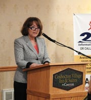 United Way of Coshocton County Executive Director Lyn Mizer addresses those in attendance at the annual United Way breakfast  Thursday at Coshocton Village Inn and Suites. The local chapter has secured more than 97 percent of its campaign goal for 2018 to 2019.