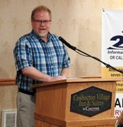 United Way of Coshocton County Board President Tom Heading addresses those in attendance at the annual United Way breakfast Thursday at Coshocton Village Inn and Suites.
