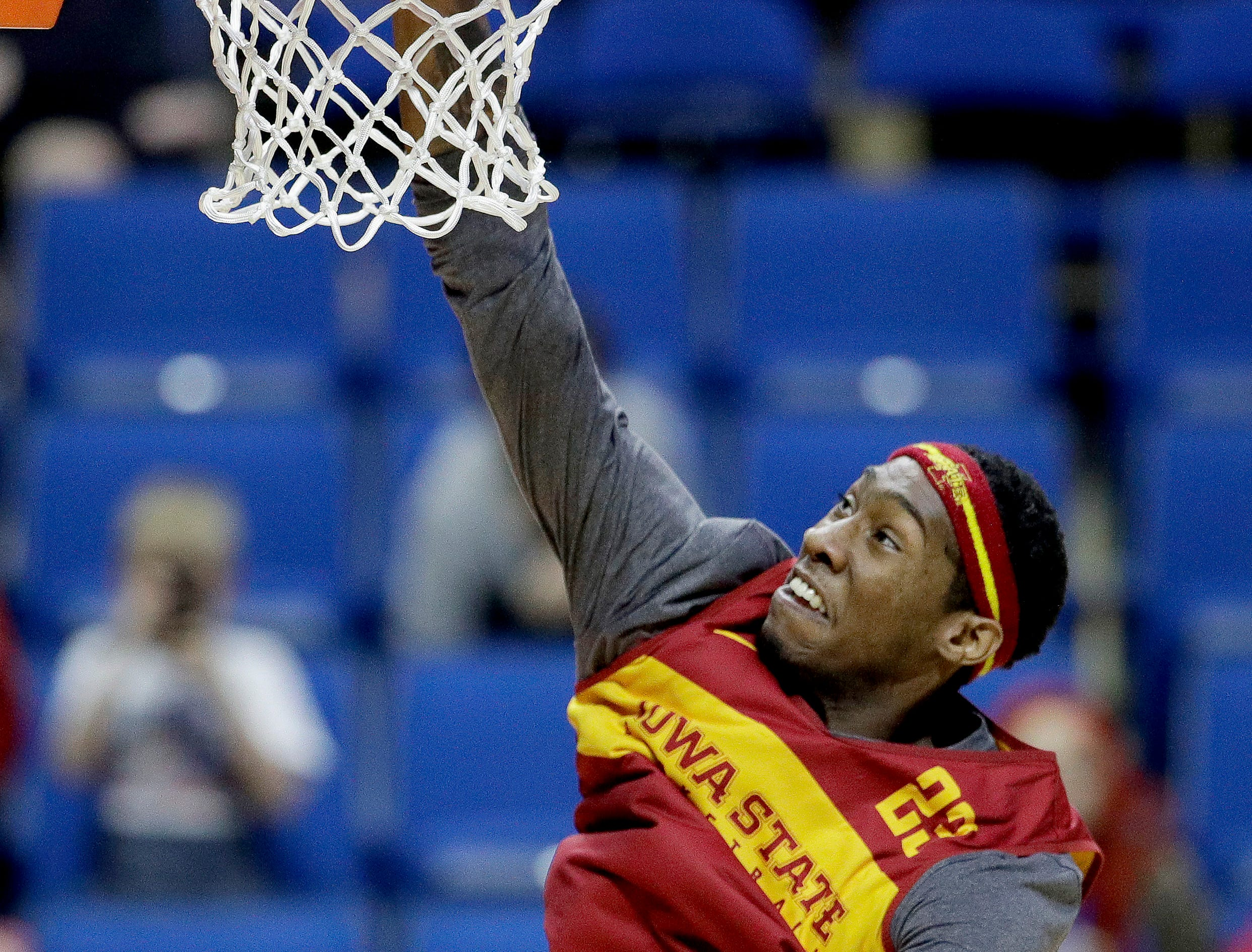 Iowa State's Zoran Talley Jr. puts up a shot during practice for the NCAA men's college basketball tournament Thursday, March 21, 2019, in Tulsa, Oklahoma.