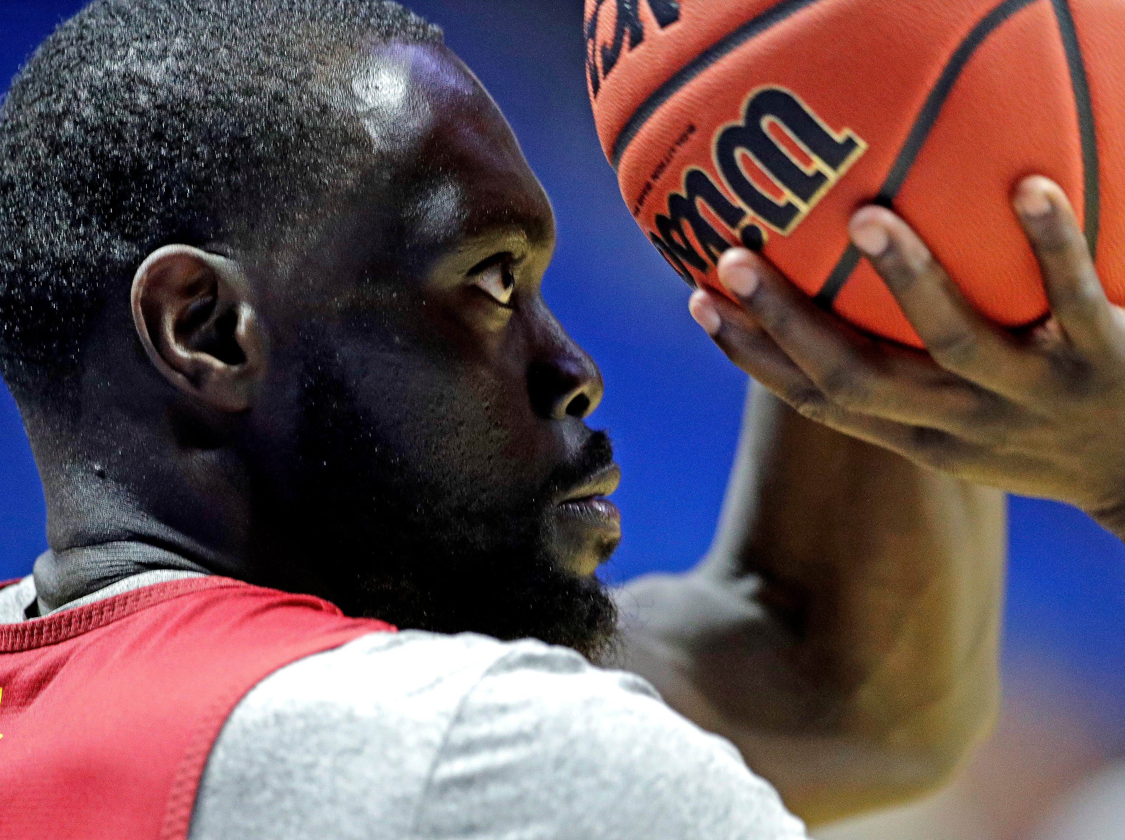 Iowa State's Marial Shayok shoots during practice for the NCAA men's college basketball tournament Thursday, March 21, 2019, in Tulsa, Oklahoma.