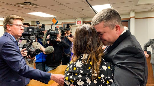 Jason Carter and his wife Shelly Carter speak with the media after a jury found him not guilty of his mother's killing on Thursday, March 21, 2019. The trial took place in Council Bluffs, Iowa. (POOL, Kyle Ocker/Daily Iowegian)
