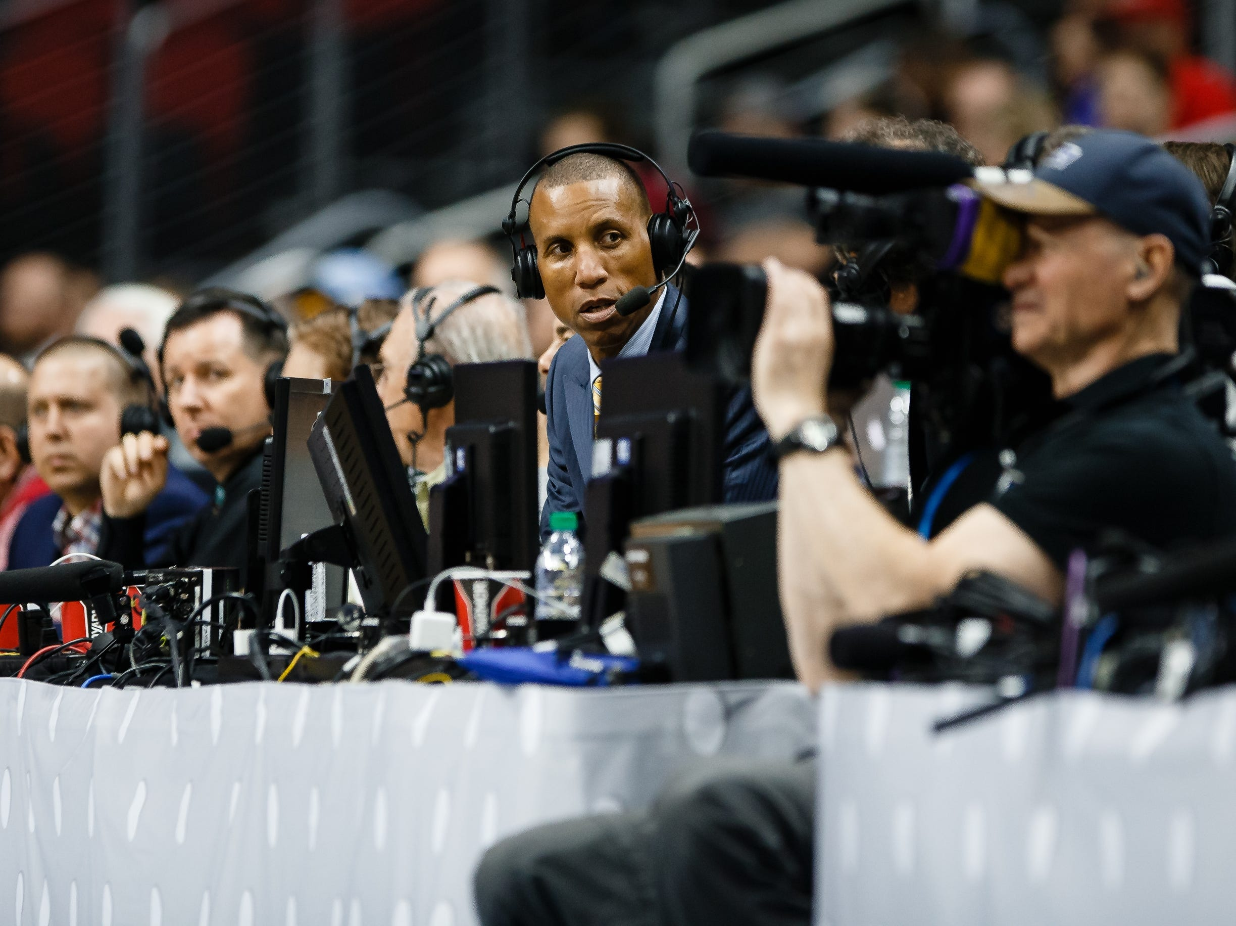 Reggie Miller announces the game as Louisville takes on Minnesota during their NCAA Division I Men's Basketball Championship First Round game on Thursday, March 21, 2019, in Des Moines. Minnesota takes a 38-33 lead into halftime.
