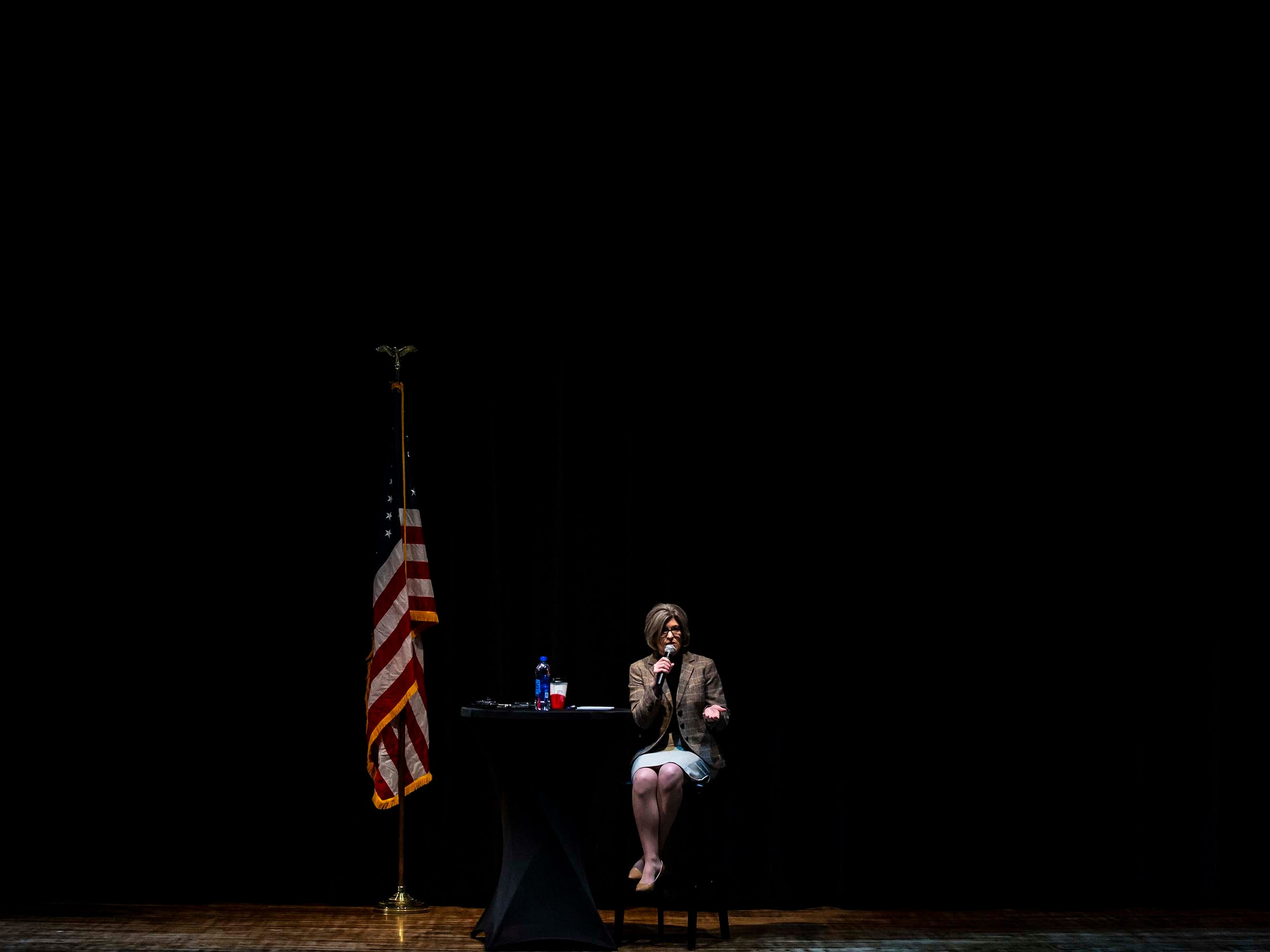 U.S. Sen. Joni Ernst, R-Red Oak, takes questions from constituents, as a part of her 99 county tour, during a town hall meeting on Thursday, March 21, 2019, in the Adel DeSoto Minburn High School Auditorium in Adel.