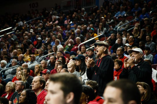 Bill Murray watches the NCAA Division I Men's Basketball Championship First Round game between Louisville and Minnesota on Thursday, March 21, 2019, in Des Moines. Minnesota takes a 38-33 lead into halftime.