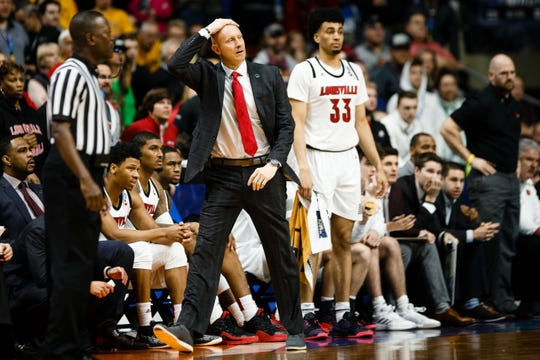 Louisville head coach Chris Mack reacts to a call during their NCAA Division I Men's Basketball Championship First Round game on Thursday, March 21, 2019, in Des Moines. Minnesota would go on to defeat Louisville 86-76.