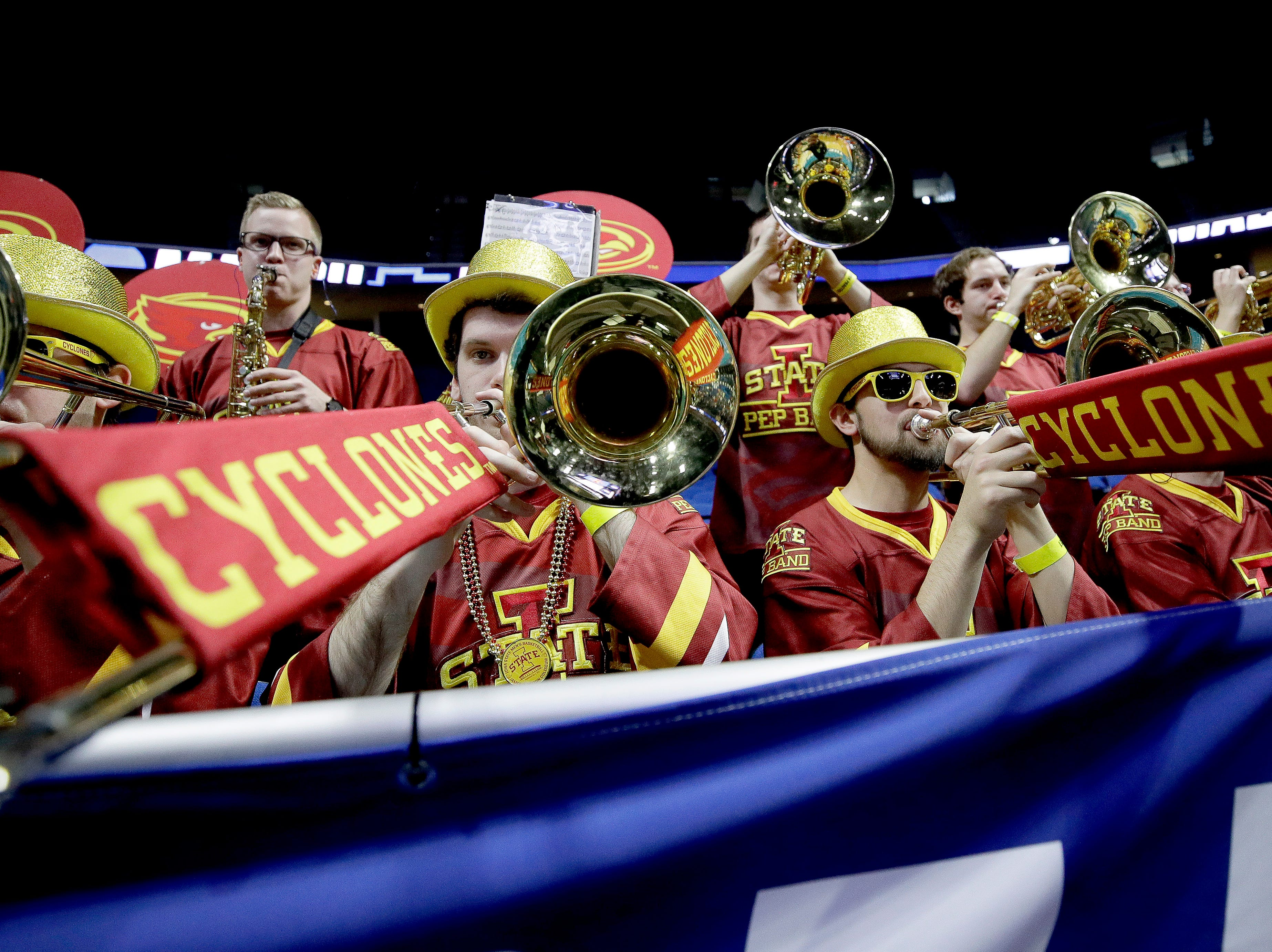 Iowa State's band plays during practice for the NCAA men's college basketball tournament Thursday, March 21, 2019, in Tulsa, Oklahoma.