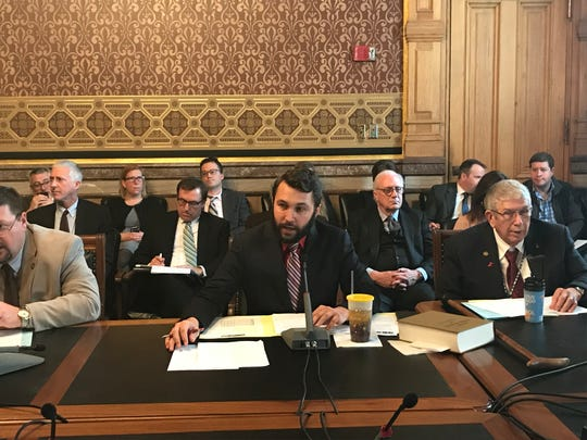 Rep. Bobby Kaufmann, R-Wilton, speaks during a House Ways and Means Committee meeting on Wednesday, March 20, 2019. The committee approved amendments to a bill legalizing sports betting.
