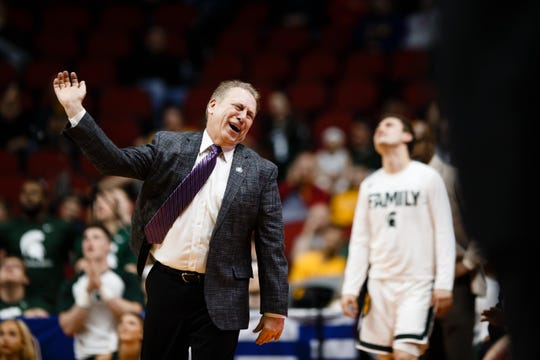 Michigan State's Tom Izzo reacts to a call during their NCAA Division I Men's Basketball Championship First Round game on Thursday, March 21, 2019, in Des Moines. Michigan State would go on to defeat Bradley 76-65.