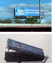 Billboards from Tampa and St. Louis cited as examples of maligning advertising in MillerCoors' lawsuit against Anheuser-Busch.