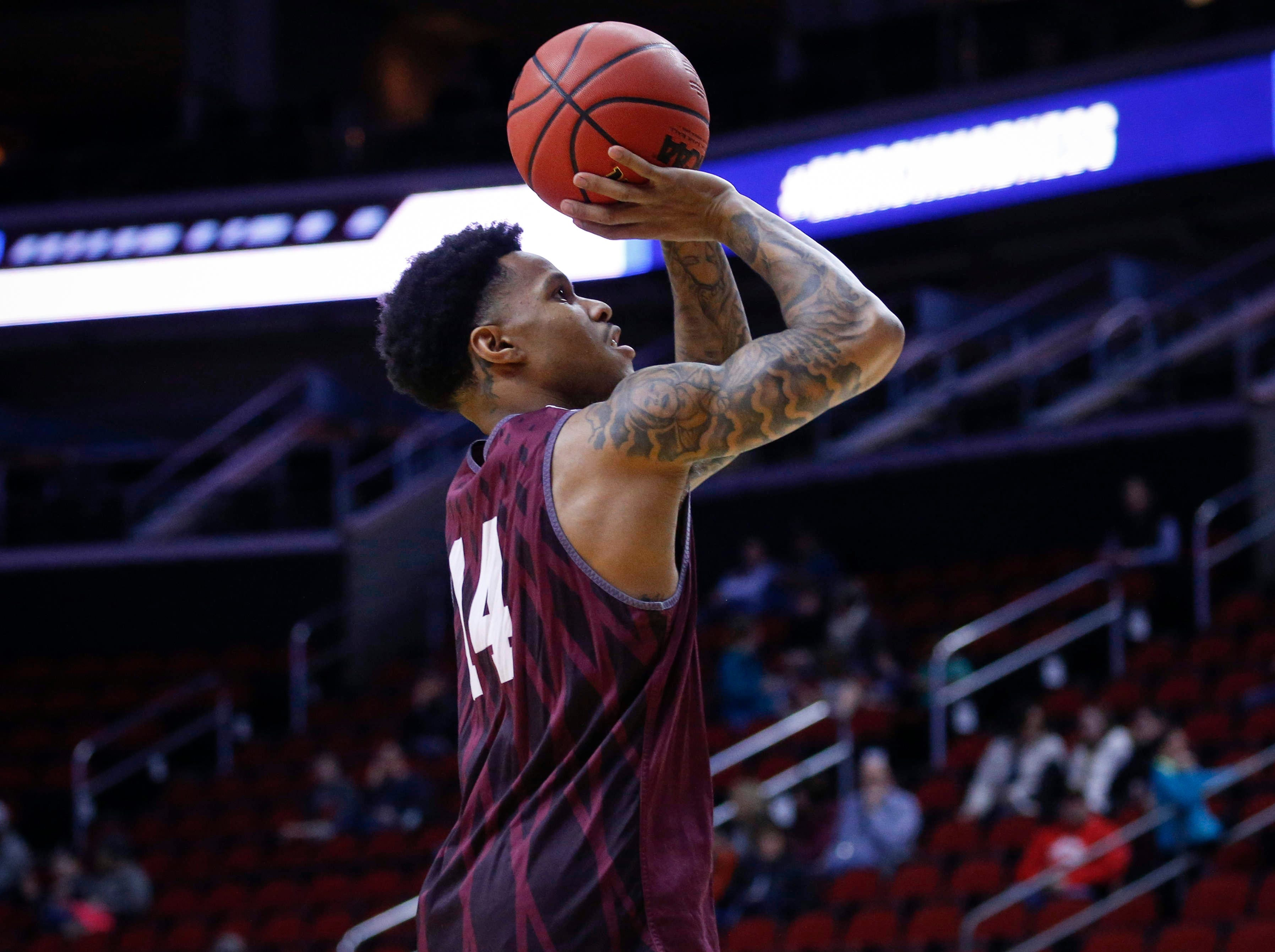 Montana senior Ahmaad Rorie shoots the ball during open practice on Wednesday, March 20, 2019, at Wells Fargo Arena in Des Moines, Iowa.