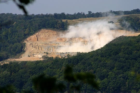 Jim Kachel of Bagley, Wis., took this photo of the Pattison Sand Mine from his home in September 2015 after he heard a blast at the mine, which is across the Mississippi River near Clayton, Ia.