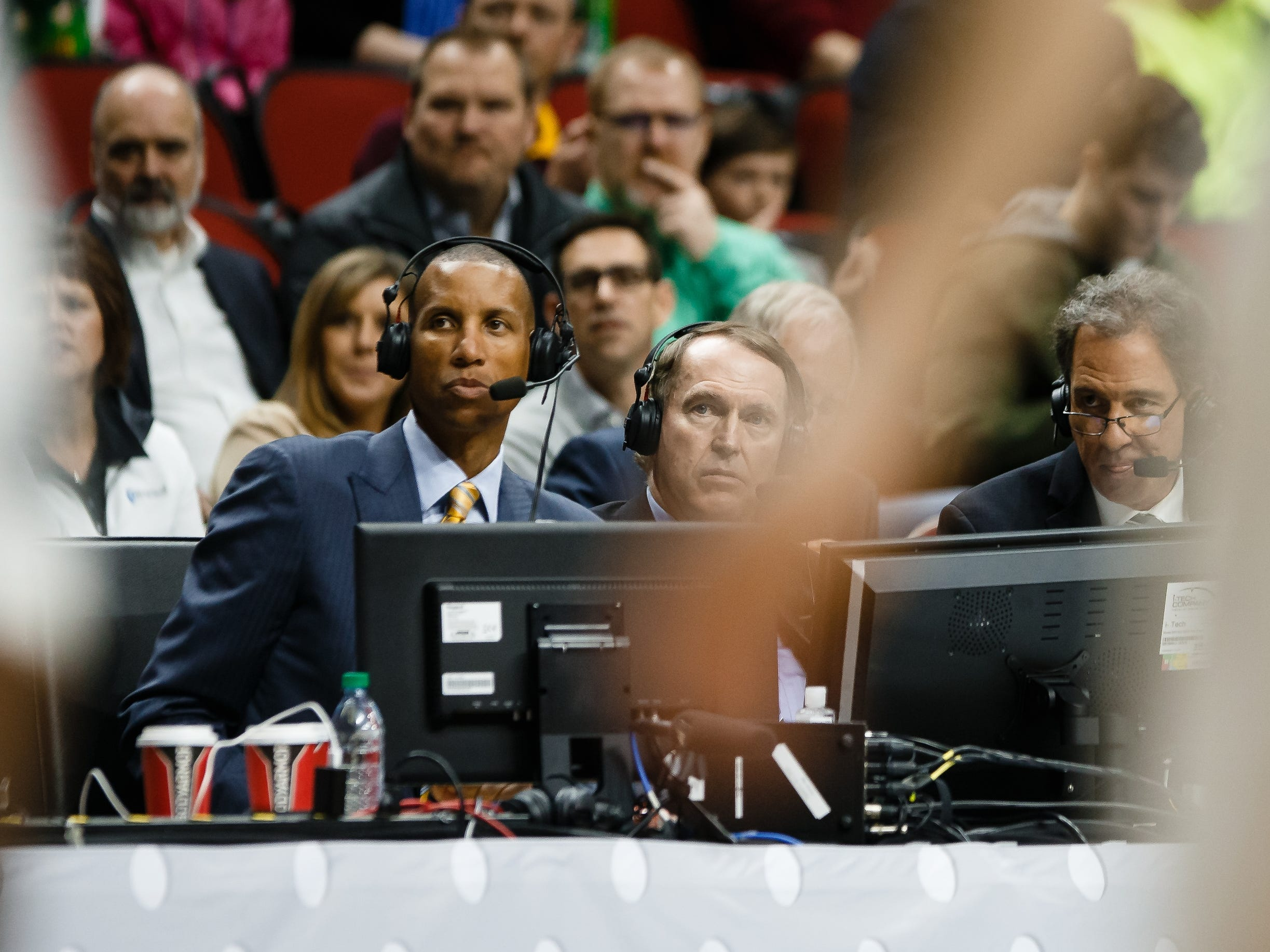 The broadcast team of Reggie Miller, left, Dan Bonner, center, and Kevin Harlan, right, during the NCAA Division I Men's Basketball Championship First Round game on Thursday, March 21, 2019, in Des Moines. Minnesota takes a 38-33 lead into halftime.