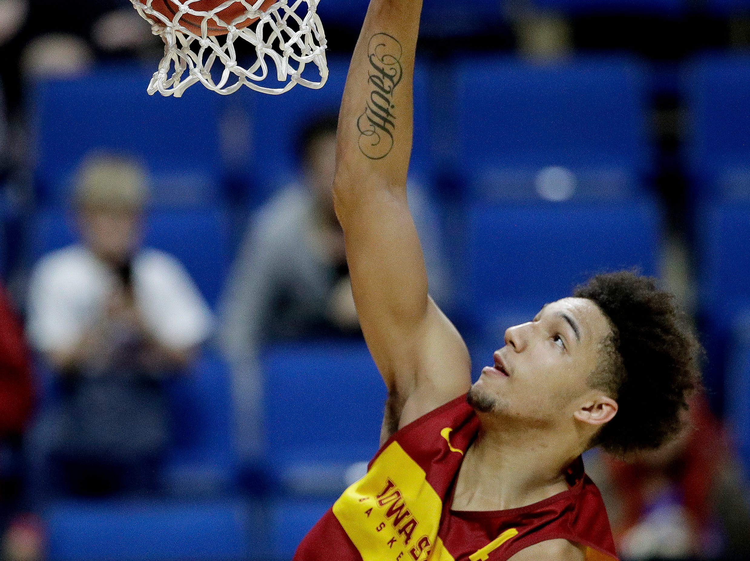 Iowa State's George Conditt IV puts up a shot during practice for the NCAA men's college basketball tournament Thursday, March 21, 2019, in Tulsa, Oklahoma.
