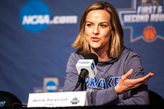 Drake head coach Jennie Baranczyk talks with reporters during a NCAA women's basketball tournament first-round practice day, Thursday, March 21, 2019, at Carver-Hawkeye Arena in Iowa City, Iowa.