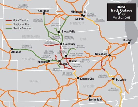 A map shows BNSF Railway tracks that are currently out of service in southwest Iowa, Missouri and Nebraska due to flooding.