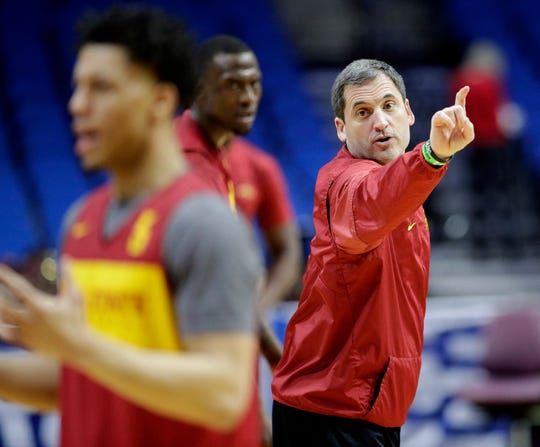 Iowa State head coach Steve Prohm talks to his players during practice for the NCAA men's college basketball tournament Thursday, March 21, 2019, in Tulsa, Oklahoma.