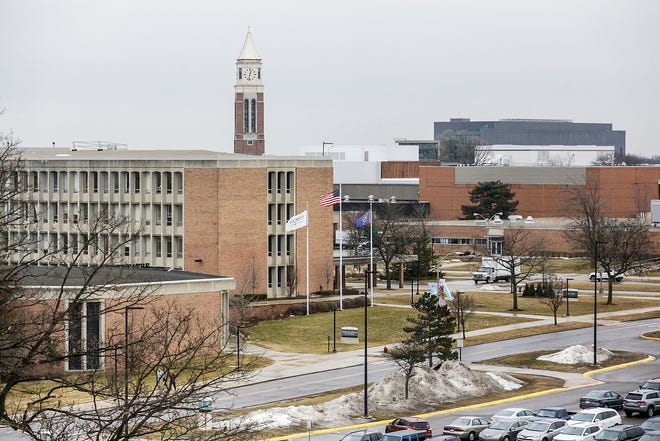 Wilson Hall and Eliott Tower can be seen on the Oakland University main campus in Rochester on Wednesday, March 13, 2019.