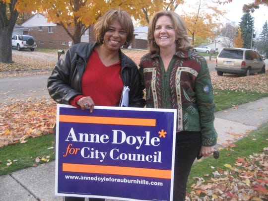 Auburn Hills City Council Candidate Anne Doyle with then-Southfield Mayor Brenda Lawrence on the campaign trail in Auburn Hills in 2009.