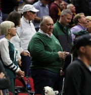 Former Michigan governor John Engler attends the Michigan State-Bradley NCAA tournament game on Thursday, March 21, 2019 at Wells Fargo Arena in Des Moines, Iowa.
