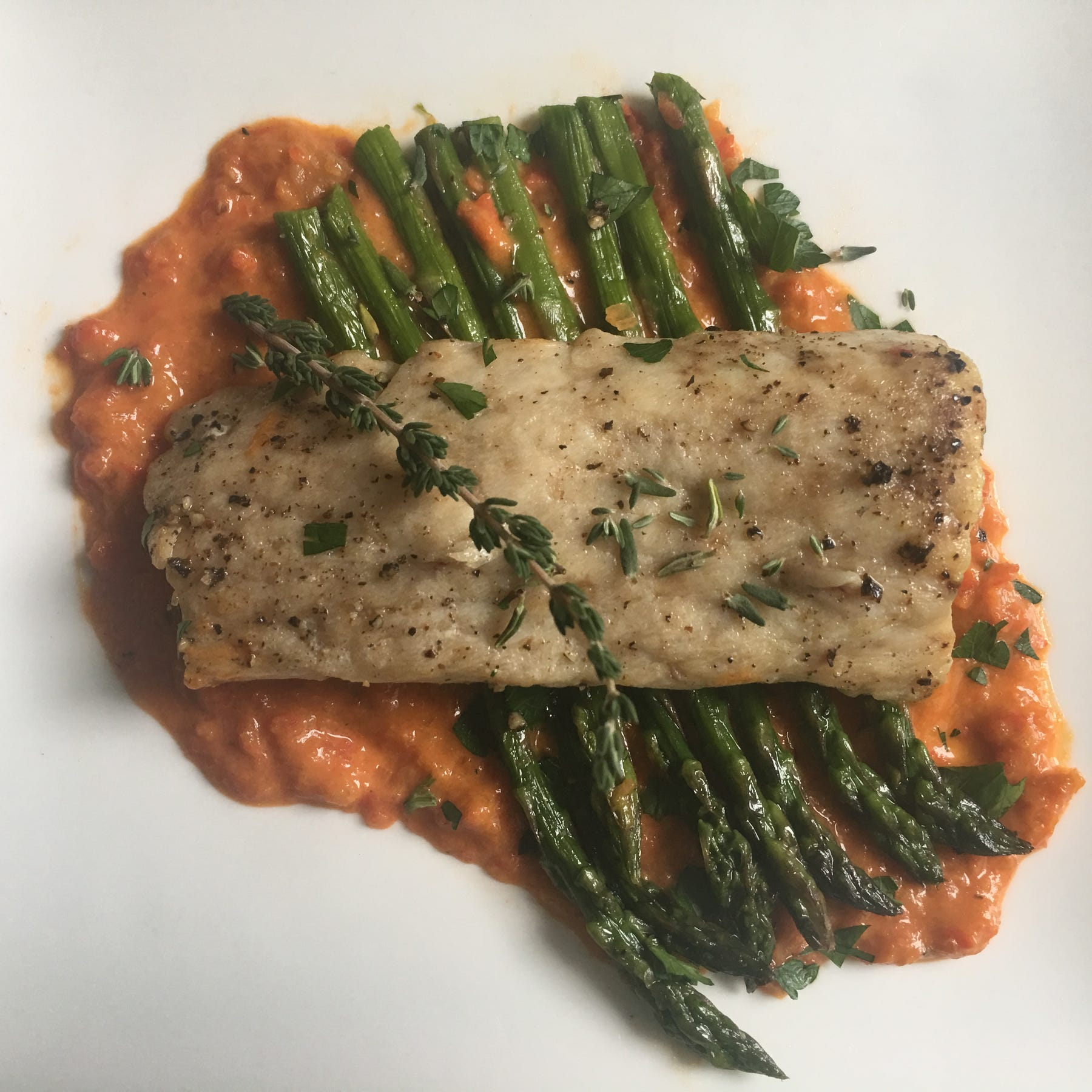Pepper sauce complements broiled fish, asparagus in delightful spring dinner
