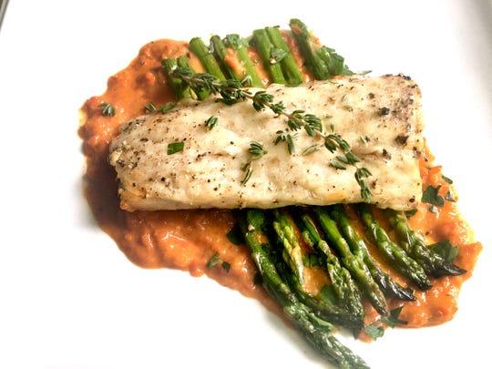 Broiled Mahi-Mahi with Red Pepper Sauce and Asparagus
