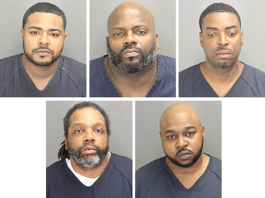 Top, from left: Rashad Isom Alston, George Booth, Clide Charles-Lamont Mathis Bottom, from left: Eric Dwayne Mills, Kejunata Deshaun Pickett