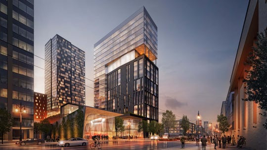 Rendering shows The Mid, a mixed-use hotel, residential, and retail project slated to rise on Woodward Avenue in Midtown Detroit.