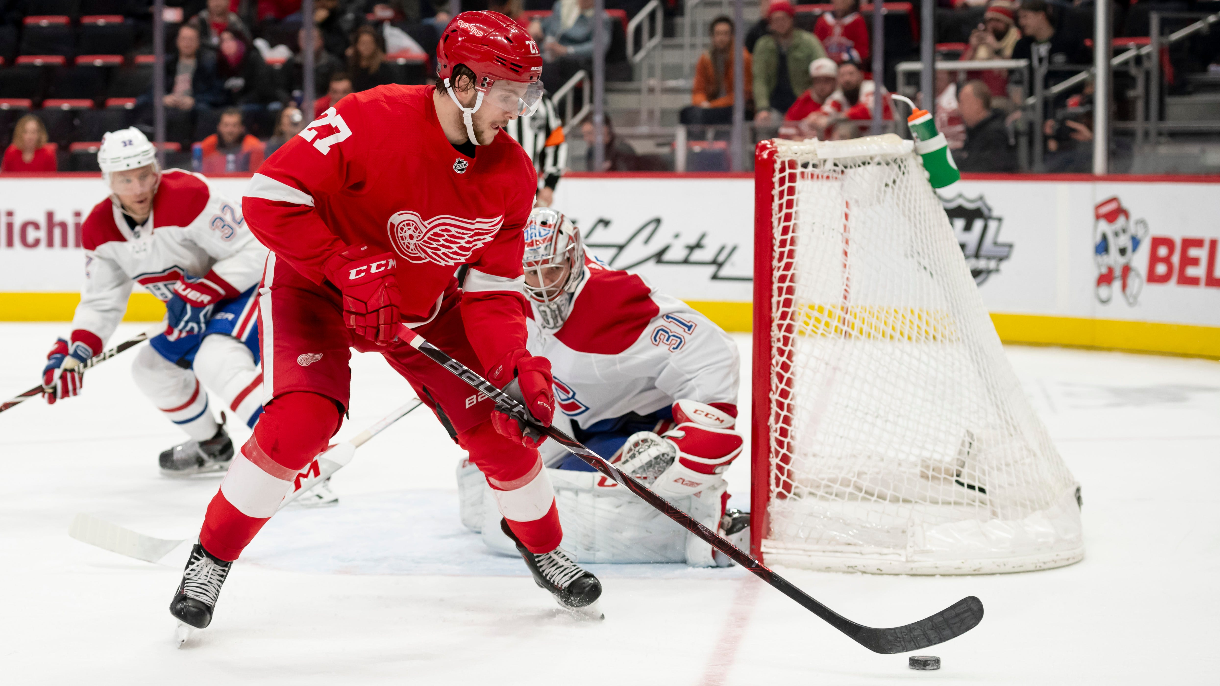 Red Wings' Michael Rasmussen learning NHL tricks during difficult season