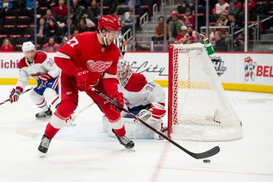 Red Wings rookie Michael Rasmussen has 18 points in 61 games this season.