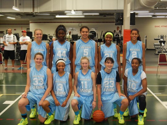 Reyna Frost (5) and Presley Hudson (23) with their AAU team.