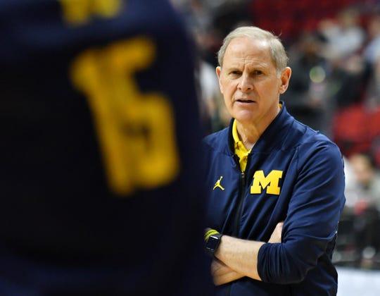 Michigan head coach John Beilein instructs during practice Wednesday.