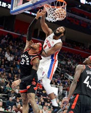 Andre Drummond (0) and the Pistons swept all three games from the Raptors this season.