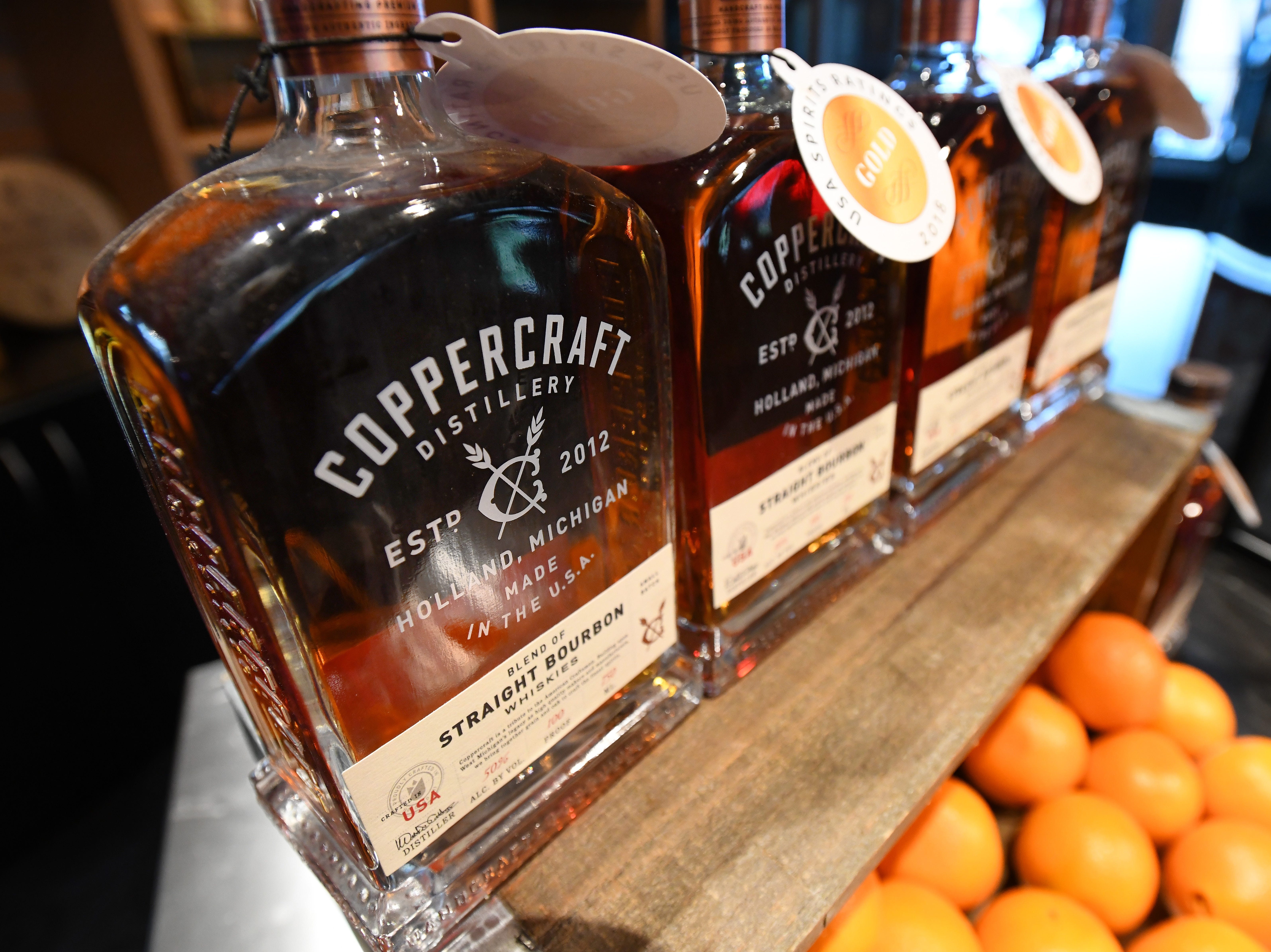 Bourbon and vodka from Holland, Michigan distillery, Coppercraft.