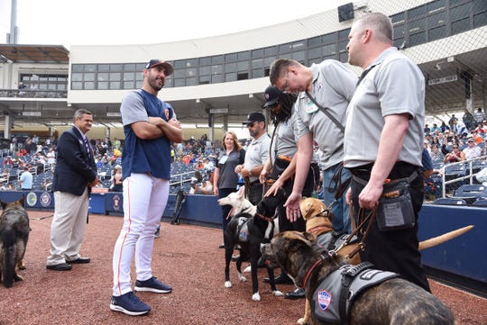 Astros pitcher Justin Verlander meets with veterans Wednesday.