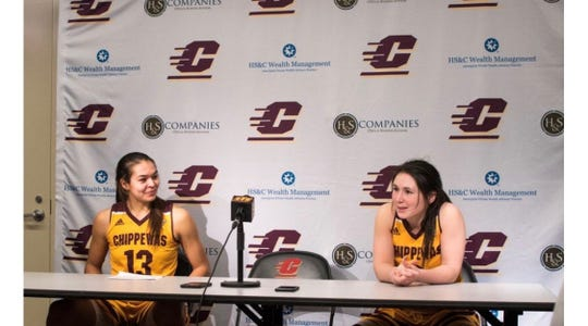 Reyna Frost and Presley Hudson participate in a press conference.
