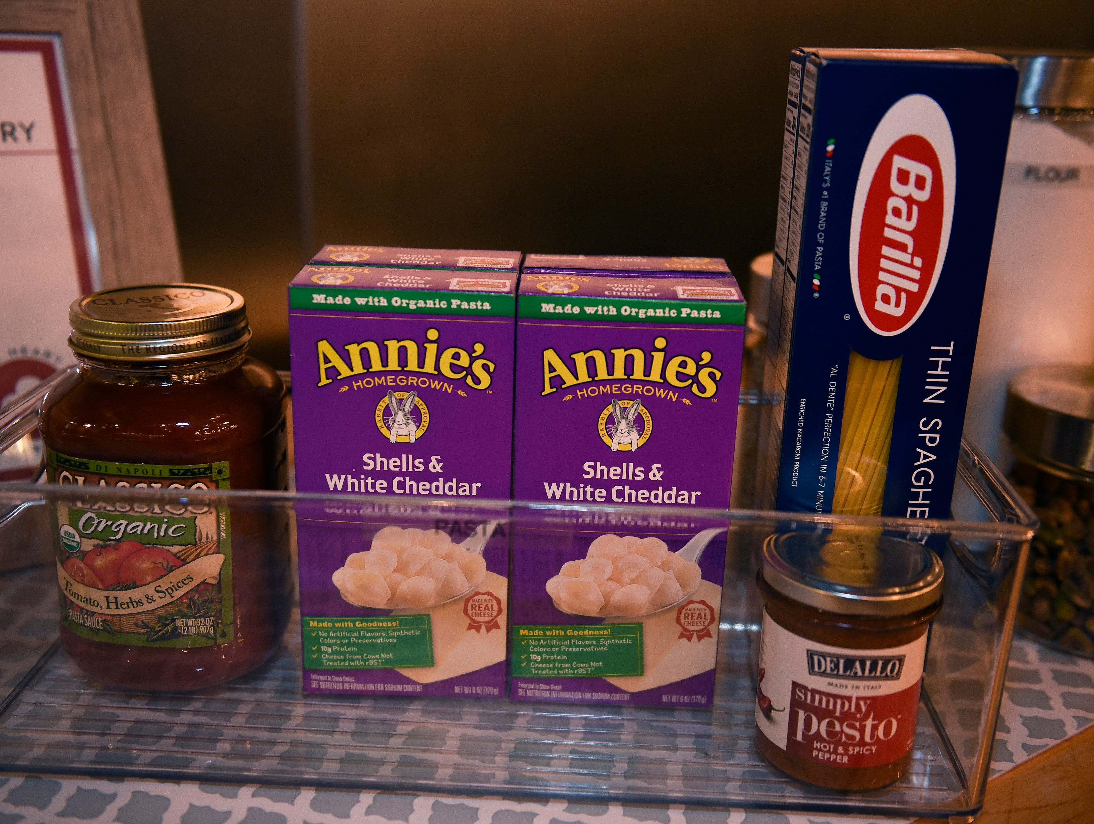 Detail shot of items on that are in your pantry.