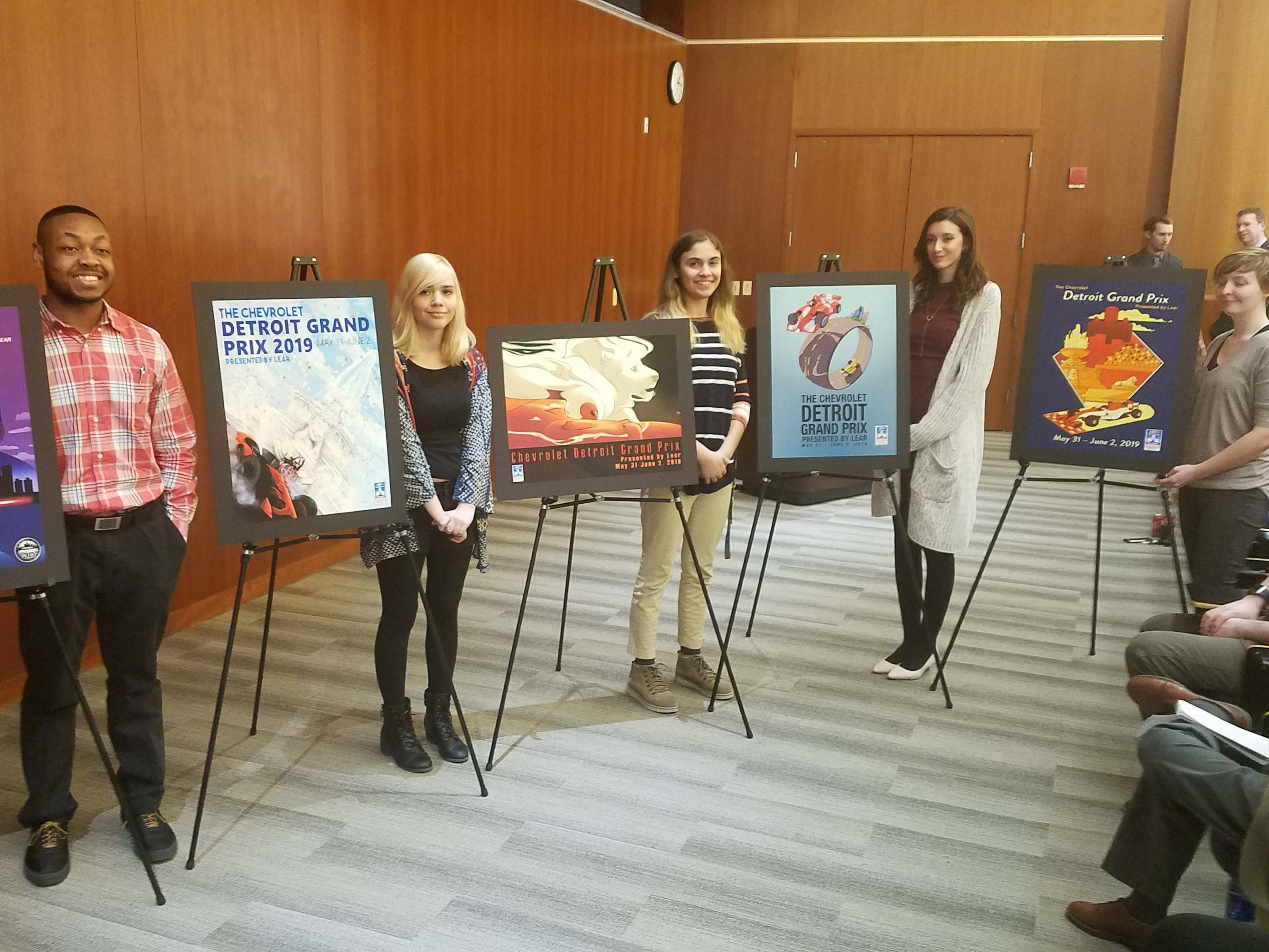 The finalists for Detroit Grand Prix poster contest.